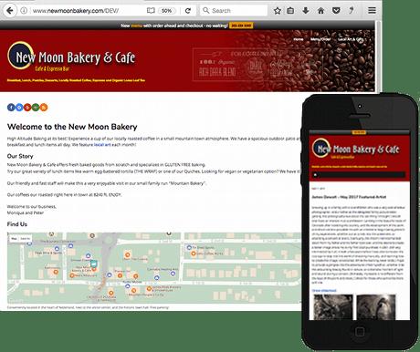 image of New Moon Bakery website